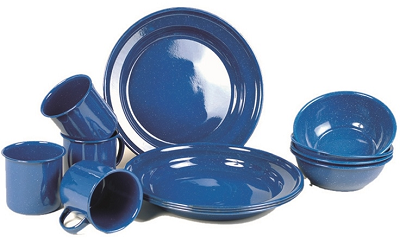 Emaille servies set blue, 12 delig