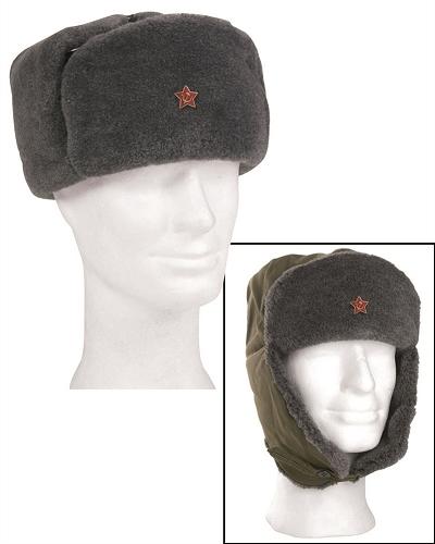 Bontmuts USSR  soldaten wintermuts incl embleem !