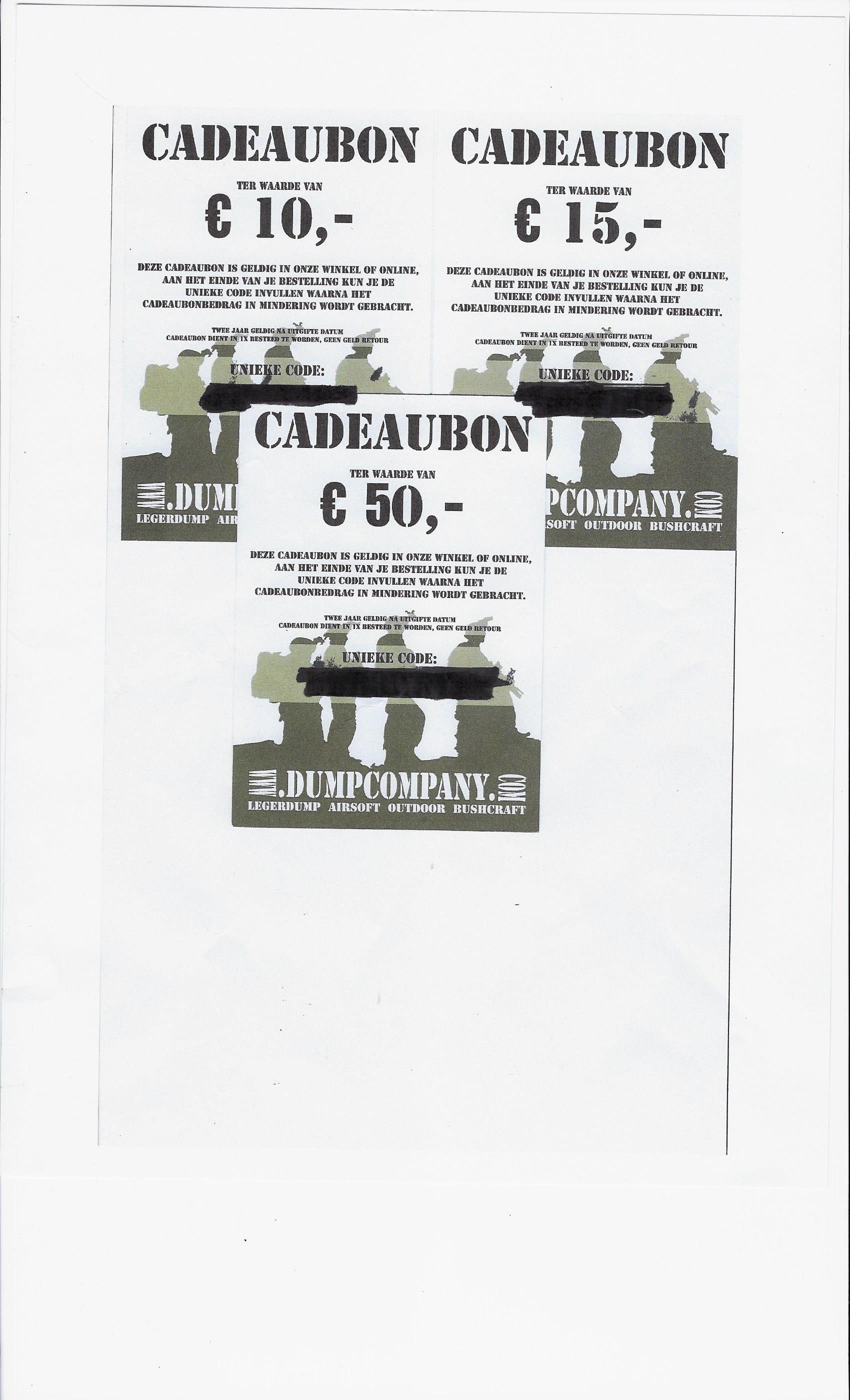 Cadeaubon Waarde 15  Euro