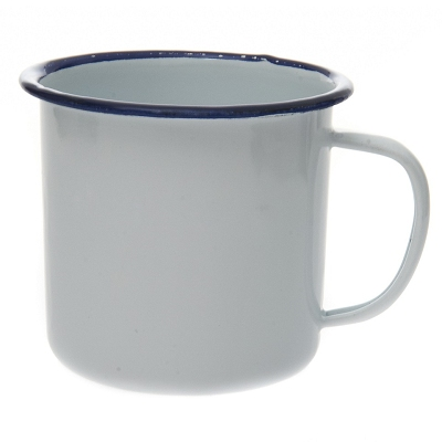 Emaille mok wit met blauwe rand