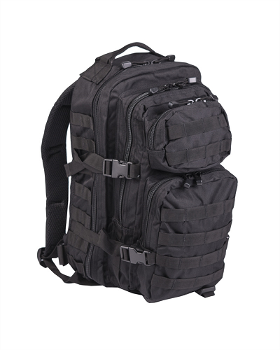 US Assaultpack Zwart Molle, Woodland of Olive  Small 25 L