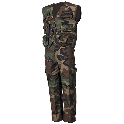 BDU set kids Woodland afritsbroek en survivalvest