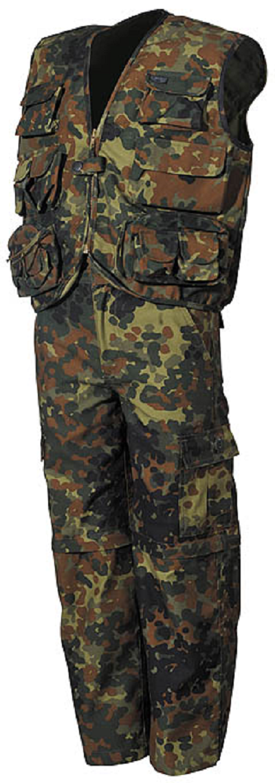 BDU set kids Flecktarn afritsbroek en survivalvest