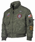 Kinder piloten leger jas flight jacket