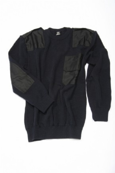 Commando trui Navy Blauw ronde hals 50% wol !