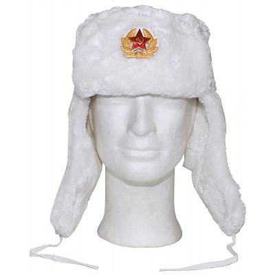 Russische bontmuts wit incl. Embleem !