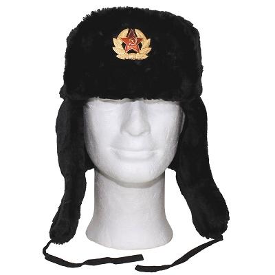 Russische bontmuts zwart incl. Embleem !
