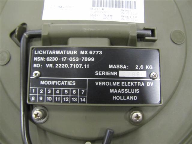Tentlamp Nederlands Leger 220 volt