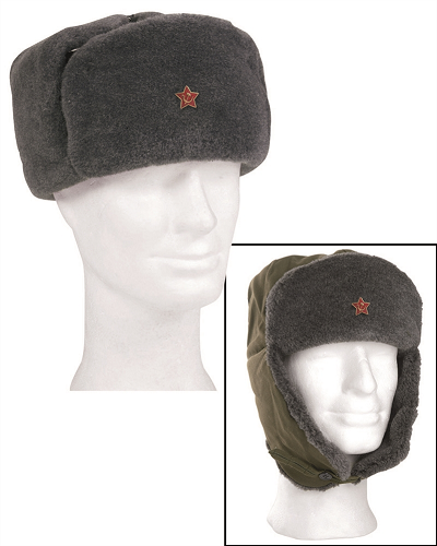 Bontmuts Russisch  soldaten wintermuts incl embleem !