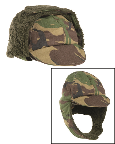 Winter pet met oorwarmers camouflage NL of groen